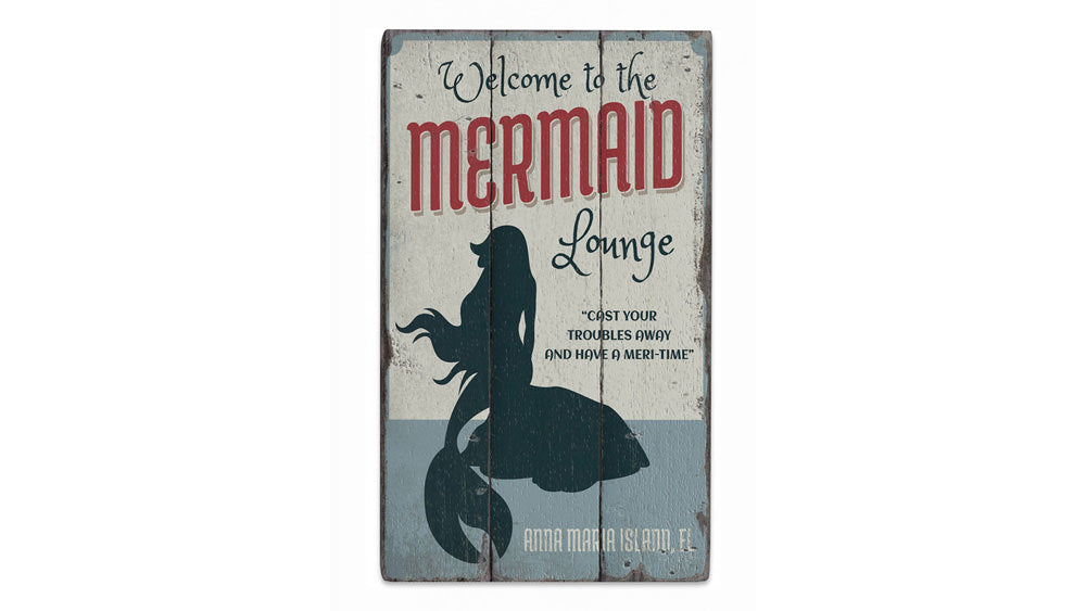 Mermaid Lounge Rustic Wood Sign