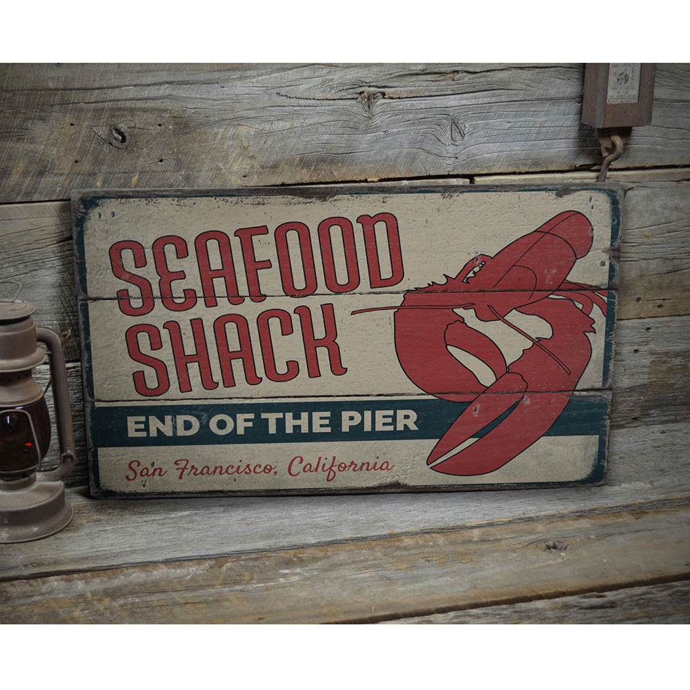 Lobster Seafood Shack Vintage Wood Sign