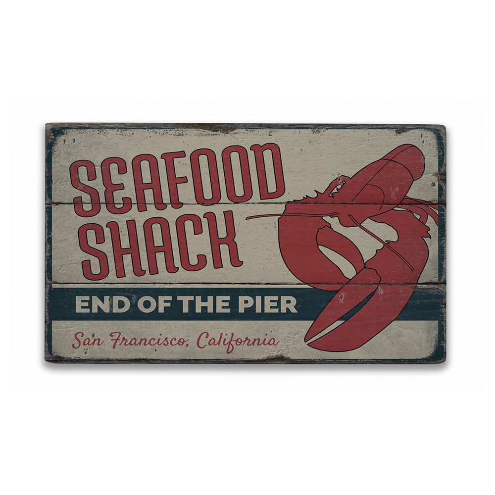 Lobster Seafood Shack Rustic Wood Sign