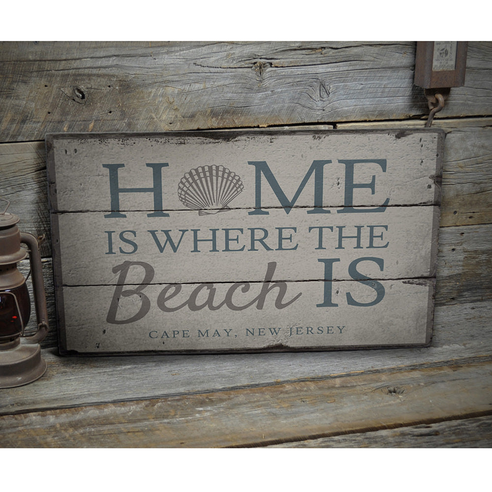 Home Is Where The Beach Is Vintage Wood Sign