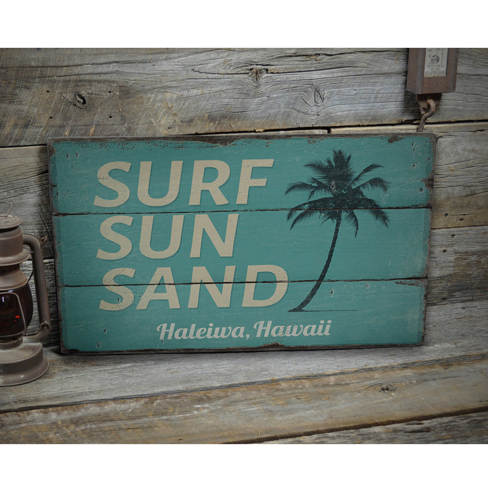 Surf sun Sand Vintage Wood Sign