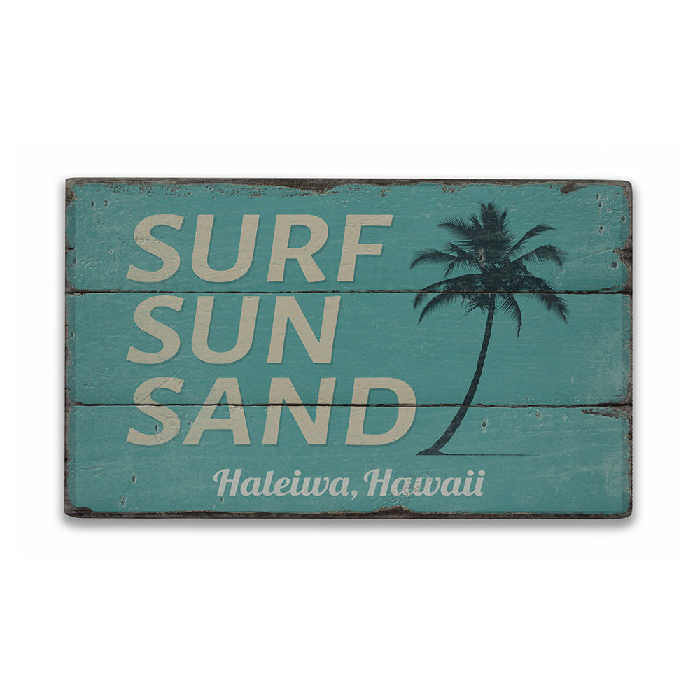 Surf sun Sand Rustic Wood Sign