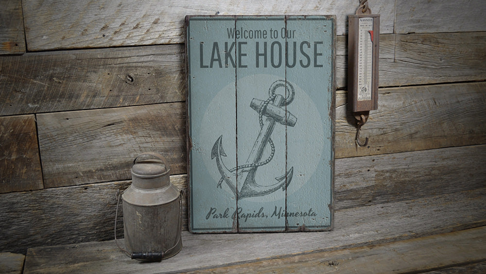 Lake House Welcome Anchor Vintage Wood Sign