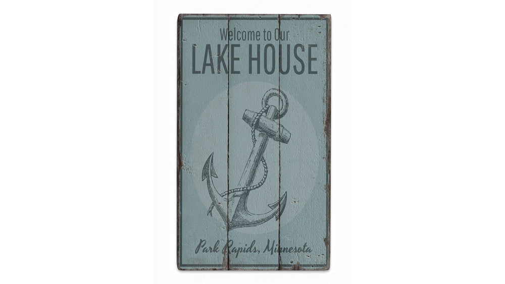 Lake House Welcome Anchor Rustic Wood Sign