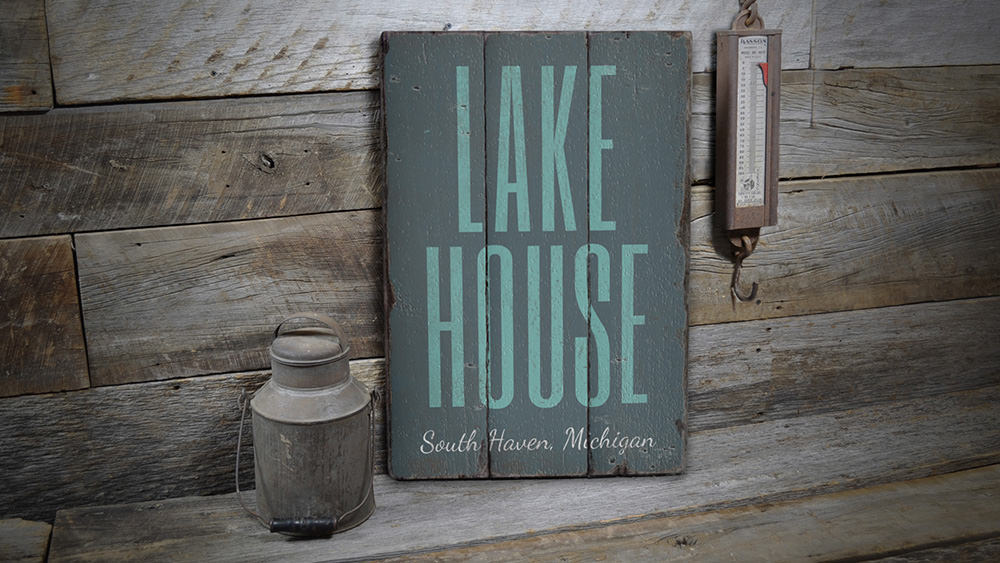 Lake House Location Vintage Wood Sign