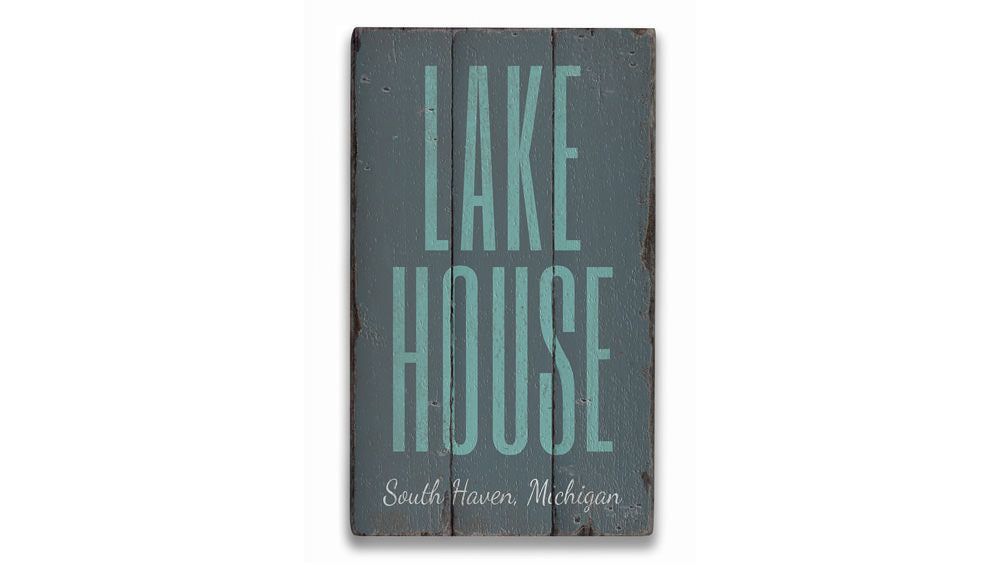 Lake House Location Rustic Wood Sign