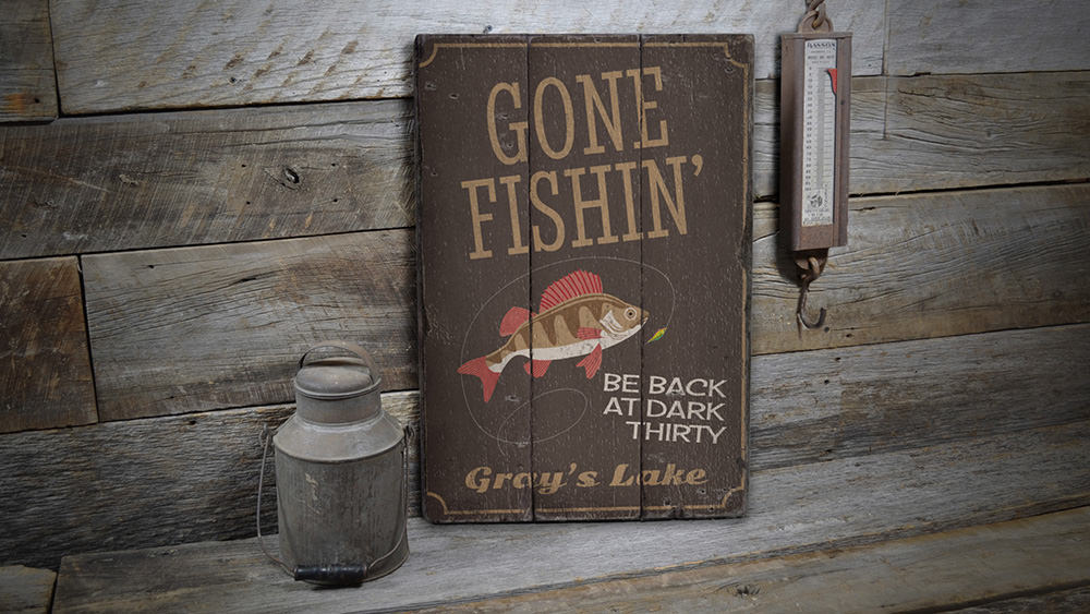 Gone Fishin Vintage Wood Sign