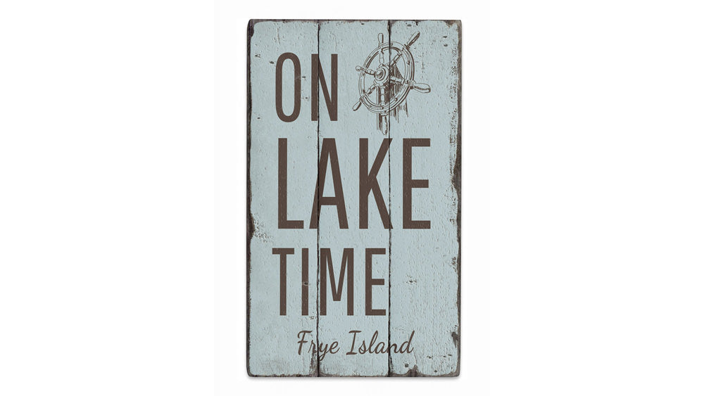 On Lake Time Wheel Rustic Wood Sign