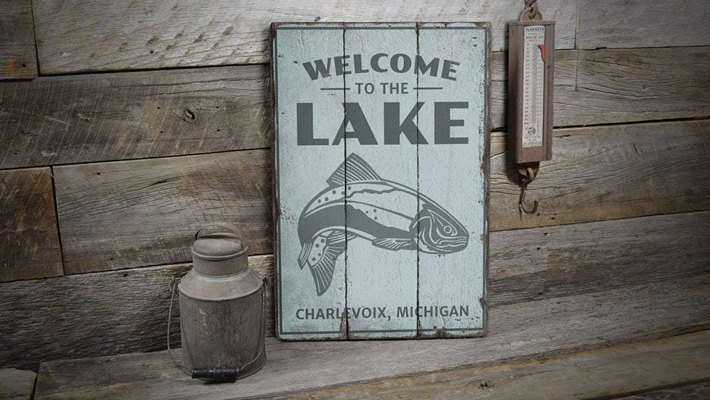 Welcome To The Lake Fish Vintage Wood Sign