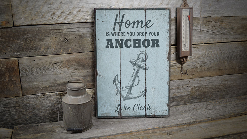 Nautical Lake Anchor Vintage Wood Sign