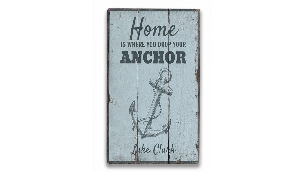 Nautical Lake Anchor Rustic Wood Sign