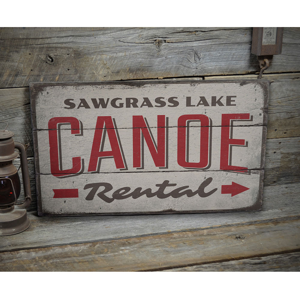 Canoe Rental Directional Vintage Wood Sign