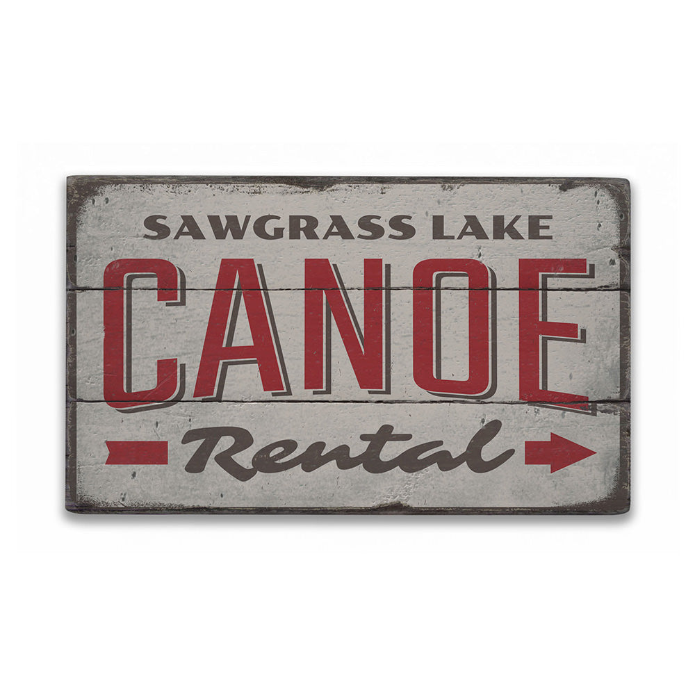 Canoe Rental Directional Rustic Wood Sign
