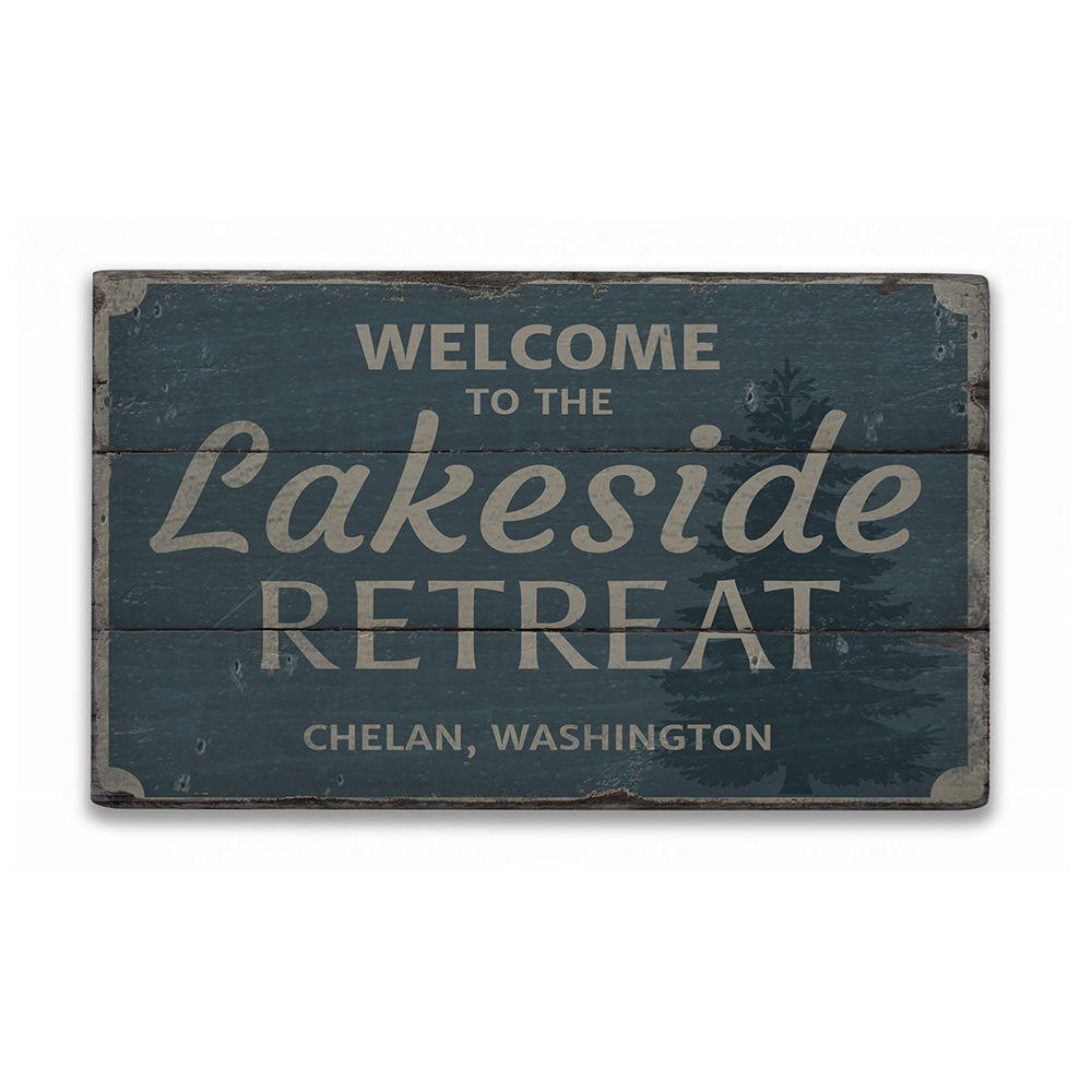 Welcome Lakeside Retreat Rustic Wood Sign