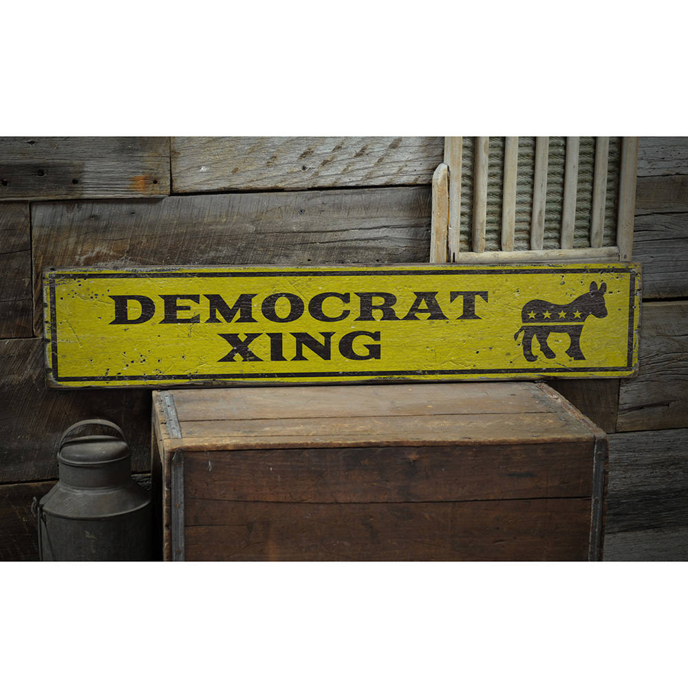Democrat Crossing Vintage Wood Sign