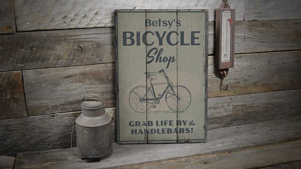 Bicycle Shop Name Rustic Wood Sign