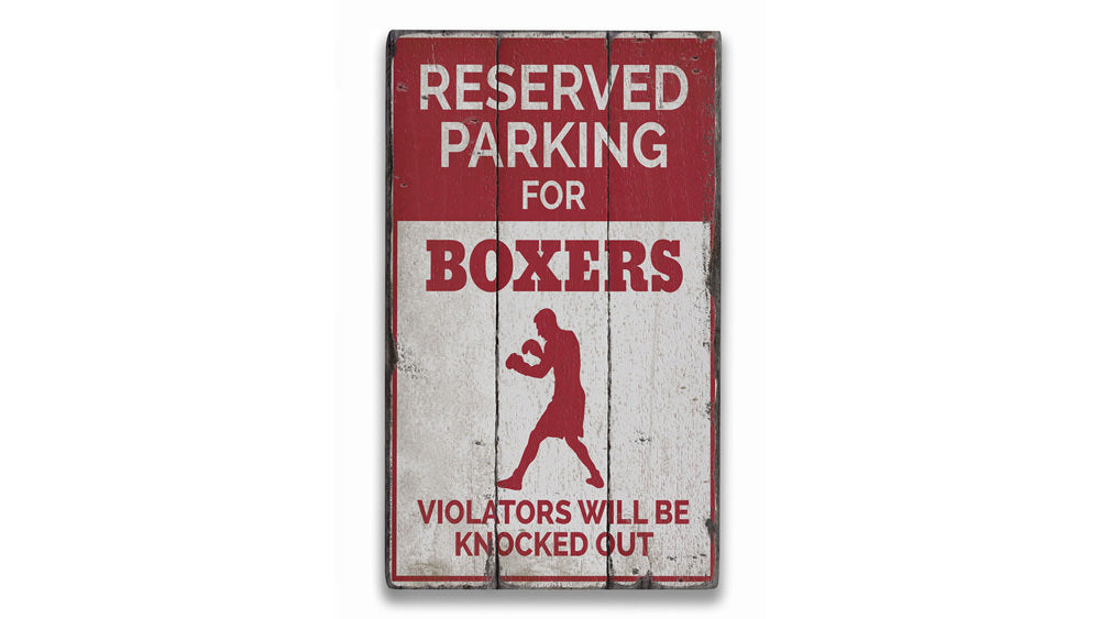 Boxer Parking Only Rustic Wood Sign