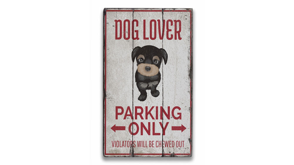 Dog Lover Parking Vintage Wood Sign