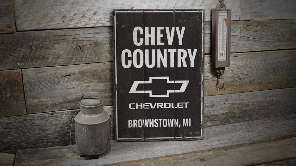 Chevy Country Rustic Wood Sign
