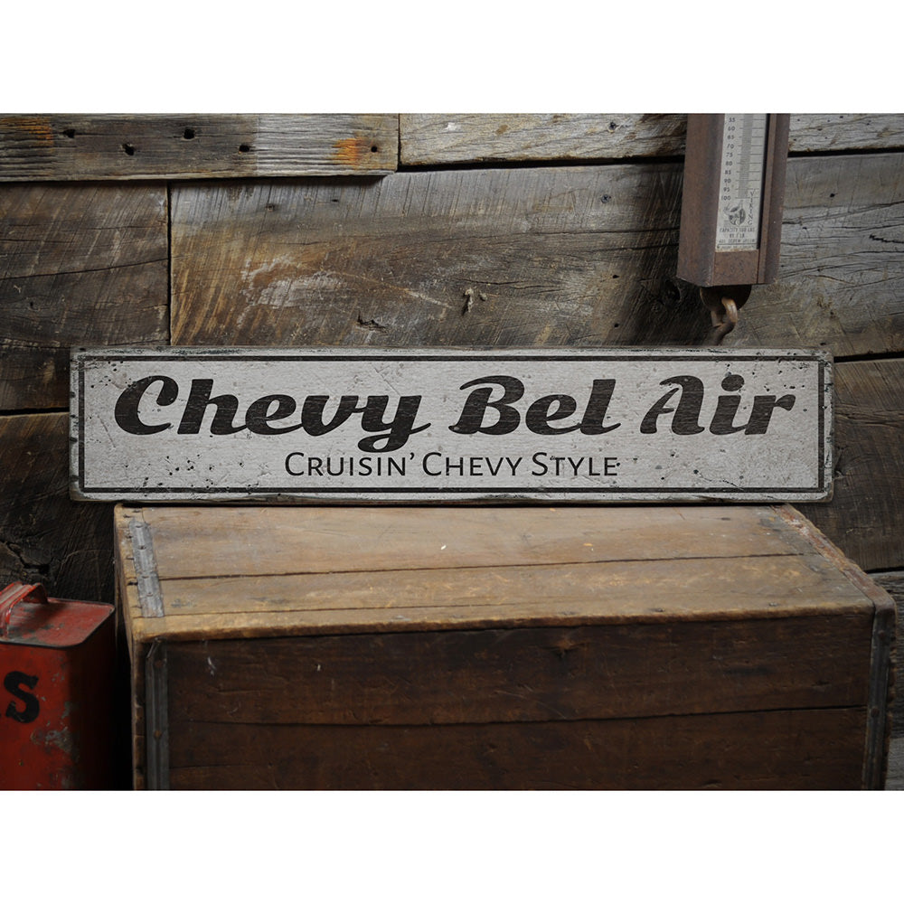Chevy Bel Air Vintage Wood Sign