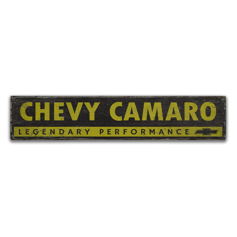 Chevy Logo Camaro Vintage Wood Sign