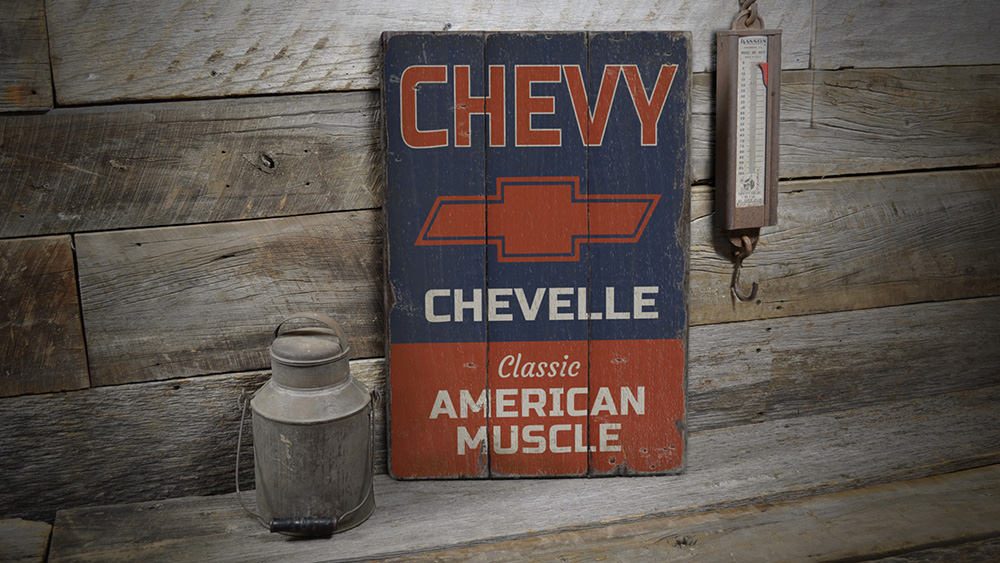Chevelle American Muscle Rustic Wood Sign