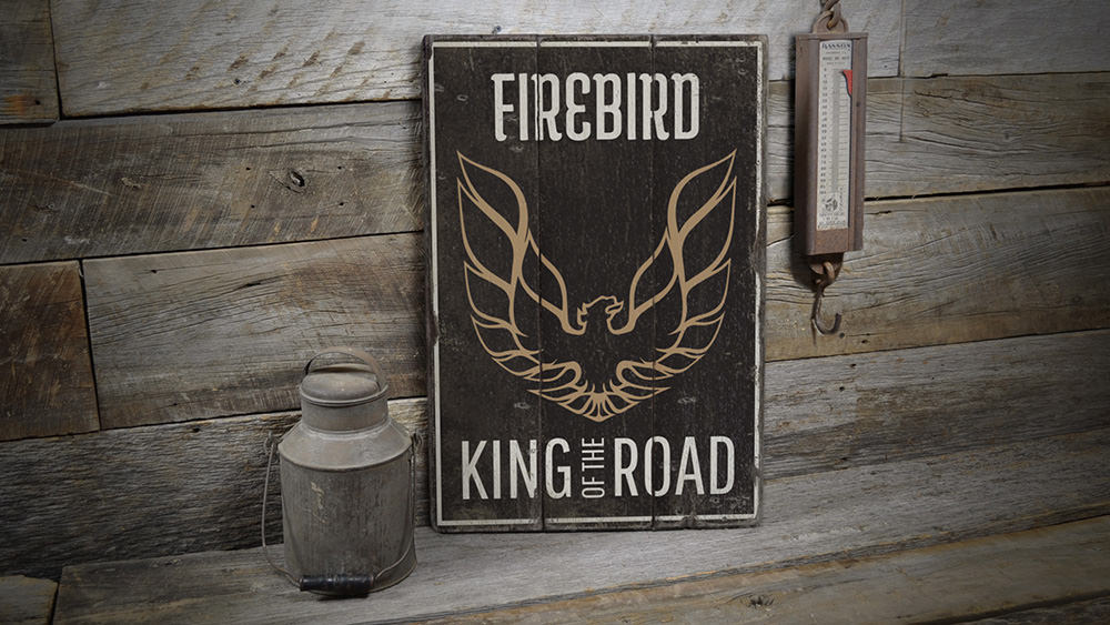 Firebird Rustic Wood Sign