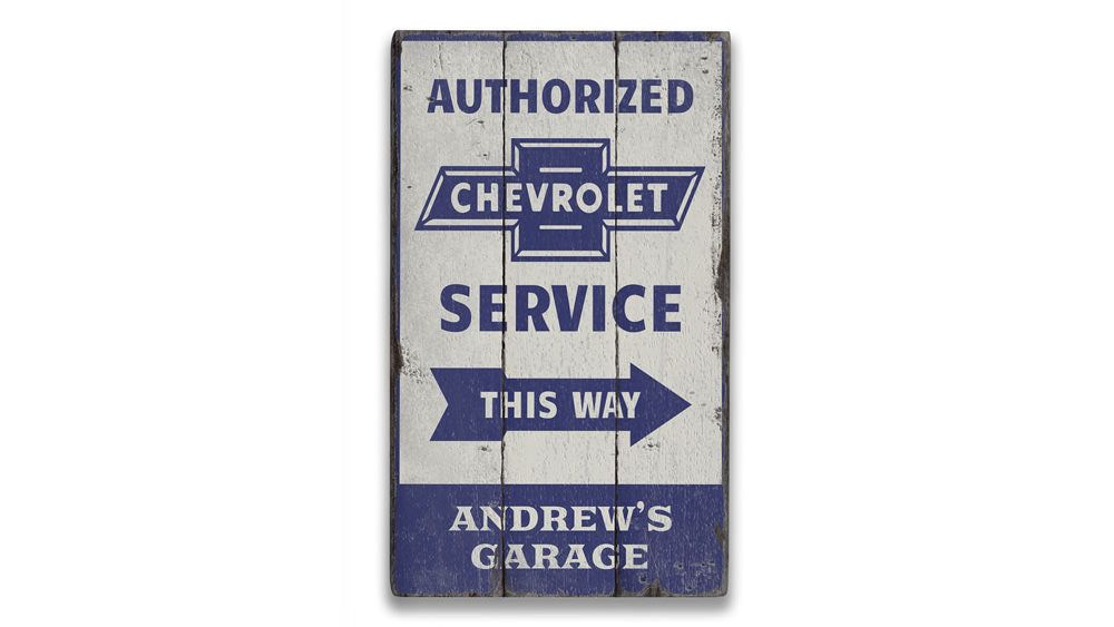 Chevrolet Service Rustic Wood Sign