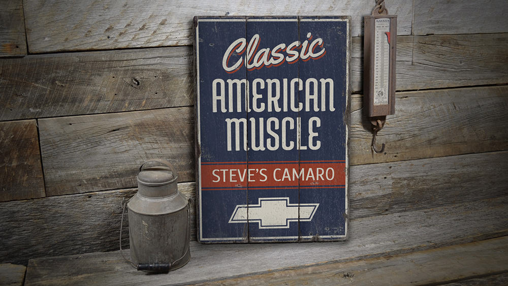 Classic American Muscle Camaro Rustic Wood Sign