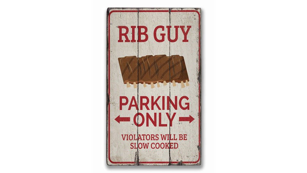 Rib Guy Parking Rustic Wood Sign