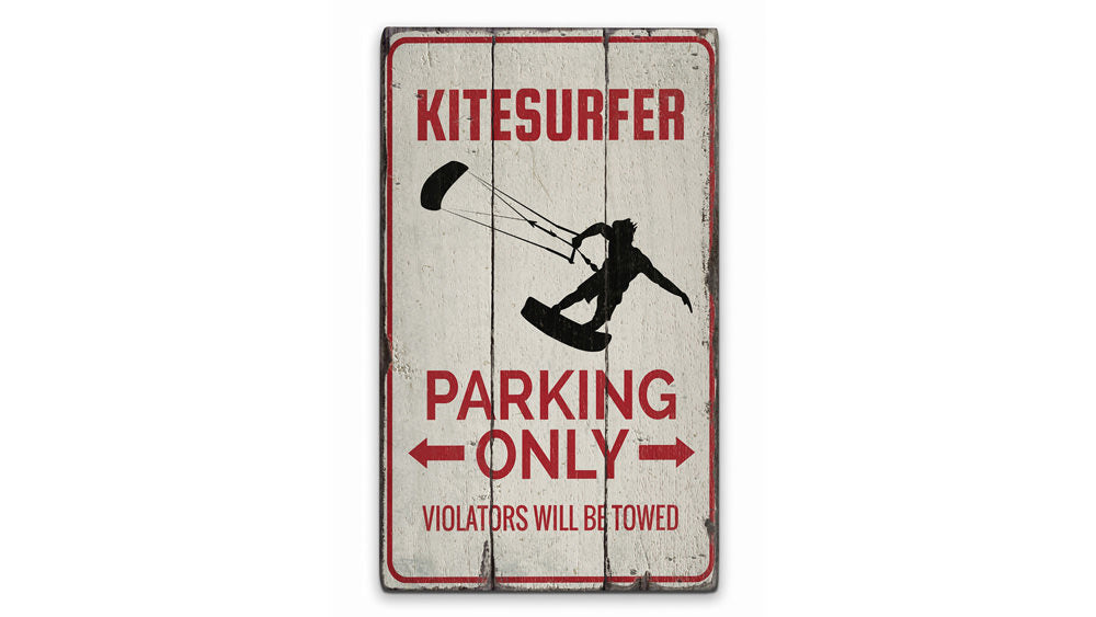 Kitesurfer Parking Rustic Wood Sign