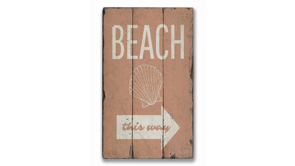 Beach Shell Rustic Wood Sign