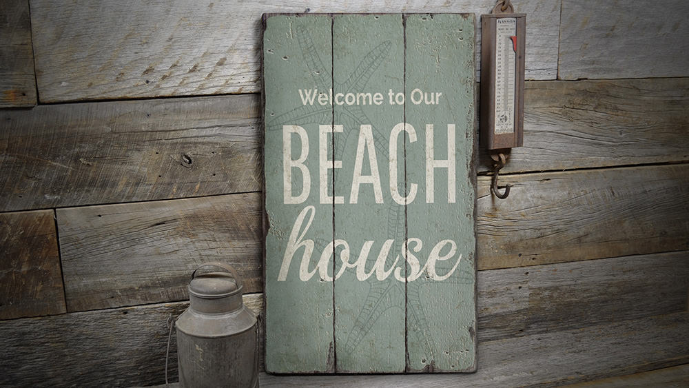 Beach House Welcome Rustic Wood Sign