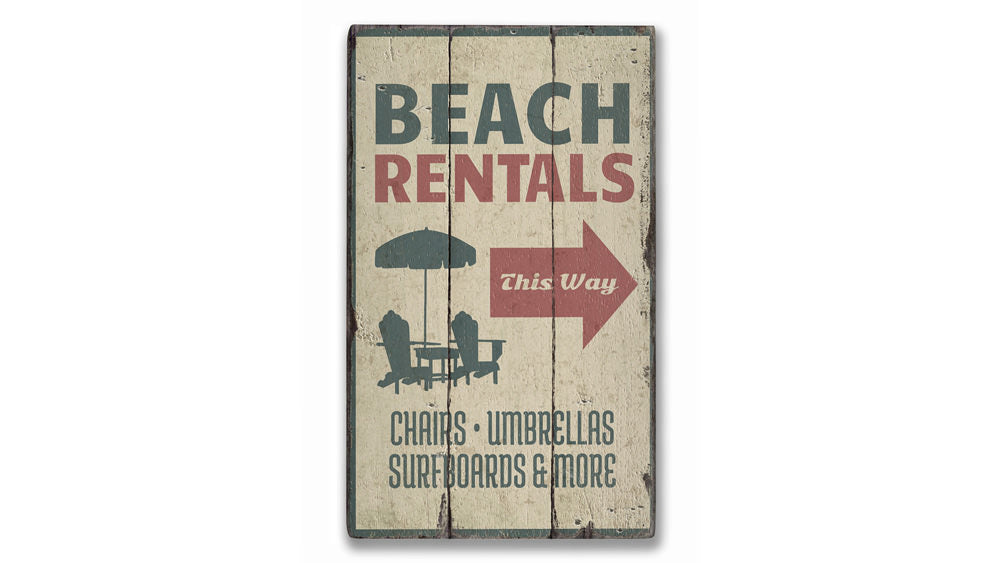 Beach Rentals Rustic Wood Sign