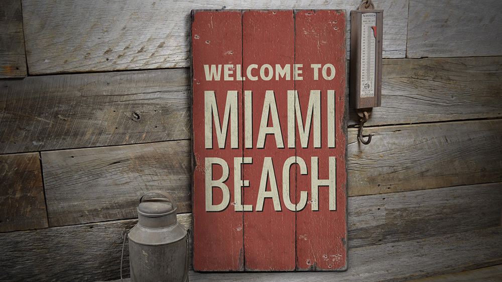 Miami Beach Rustic Wood Sign