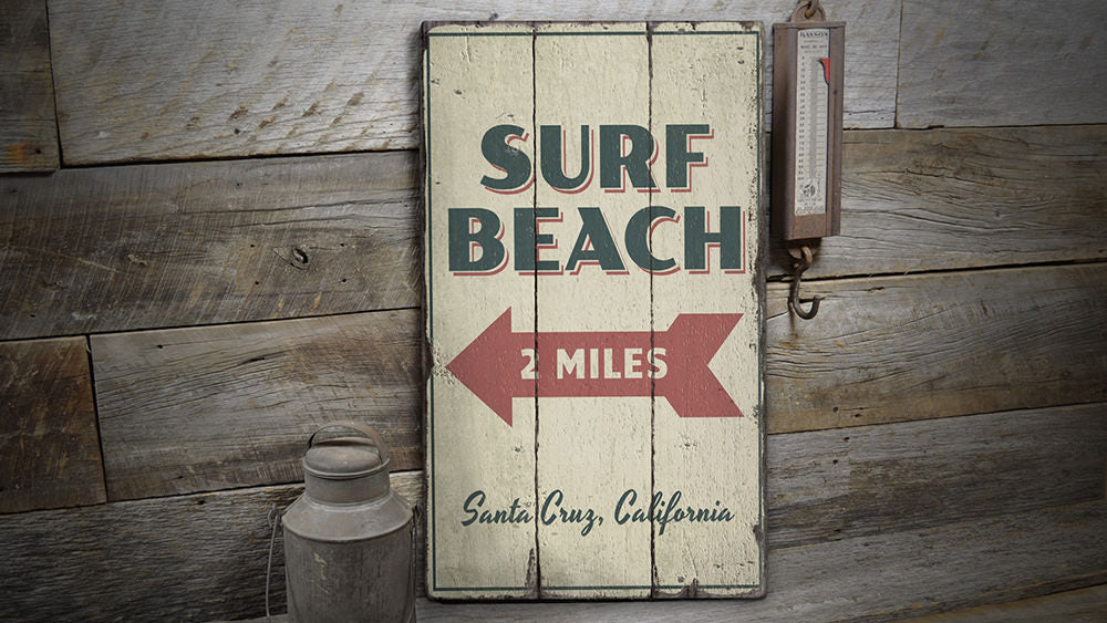 Surf Beach Rustic Wood Sign