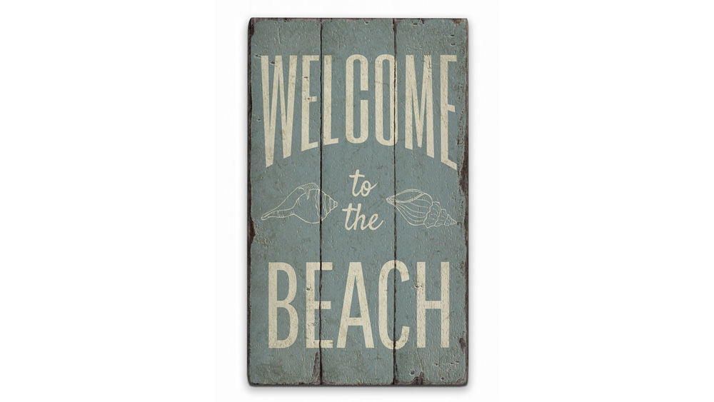 Welcome Beach Rustic Wood Sign
