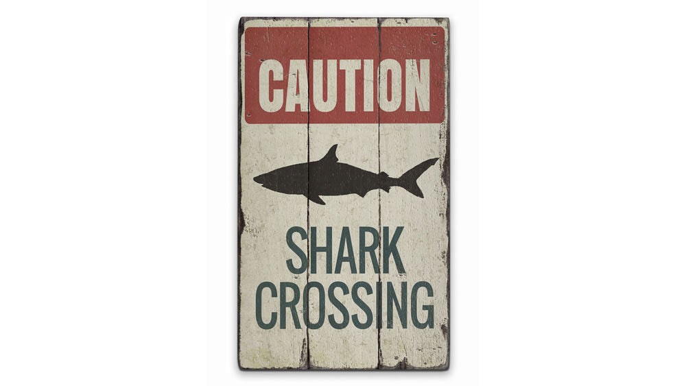 Shark Caution Rustic Wood Sign