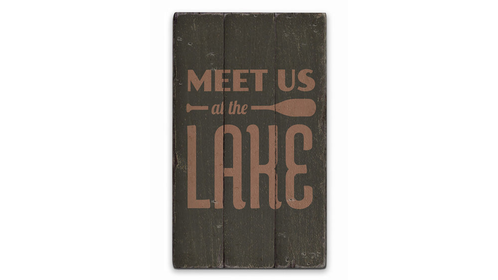 Lake Oar Rustic Wood Sign