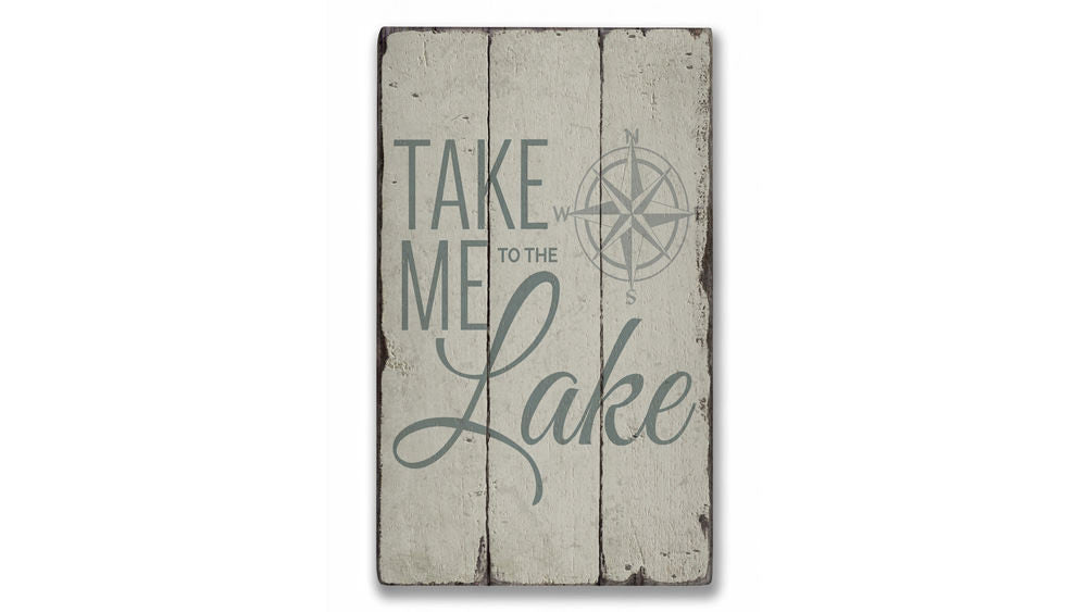 Lake Compass Rustic Wood Sign
