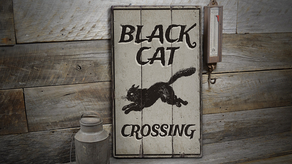 Black Cat Crossing Rustic Wood Sign