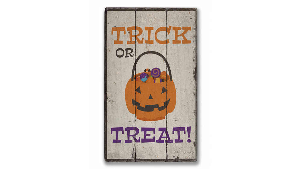 Halloween Candy Bowl Rustic Wood Sign