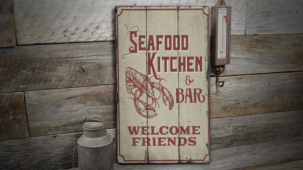 Seafood Kitchen and Bar Rustic Wood Sign