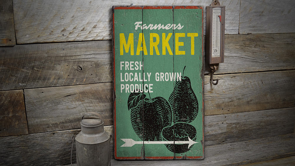 Market Rustic Wood Sign
