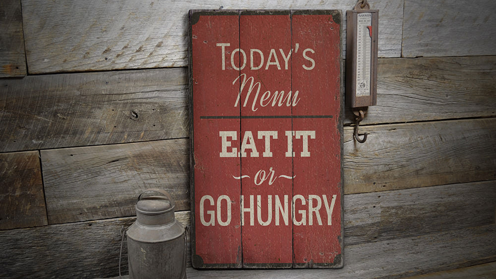 Kitchen Menu Rustic Wood Sign