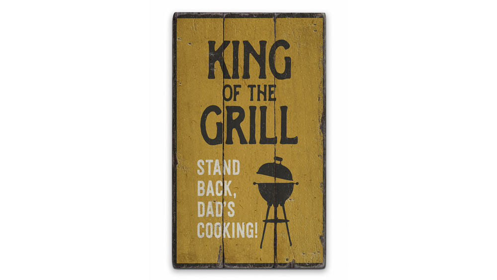 King of the Grill Rustic Wood Sign