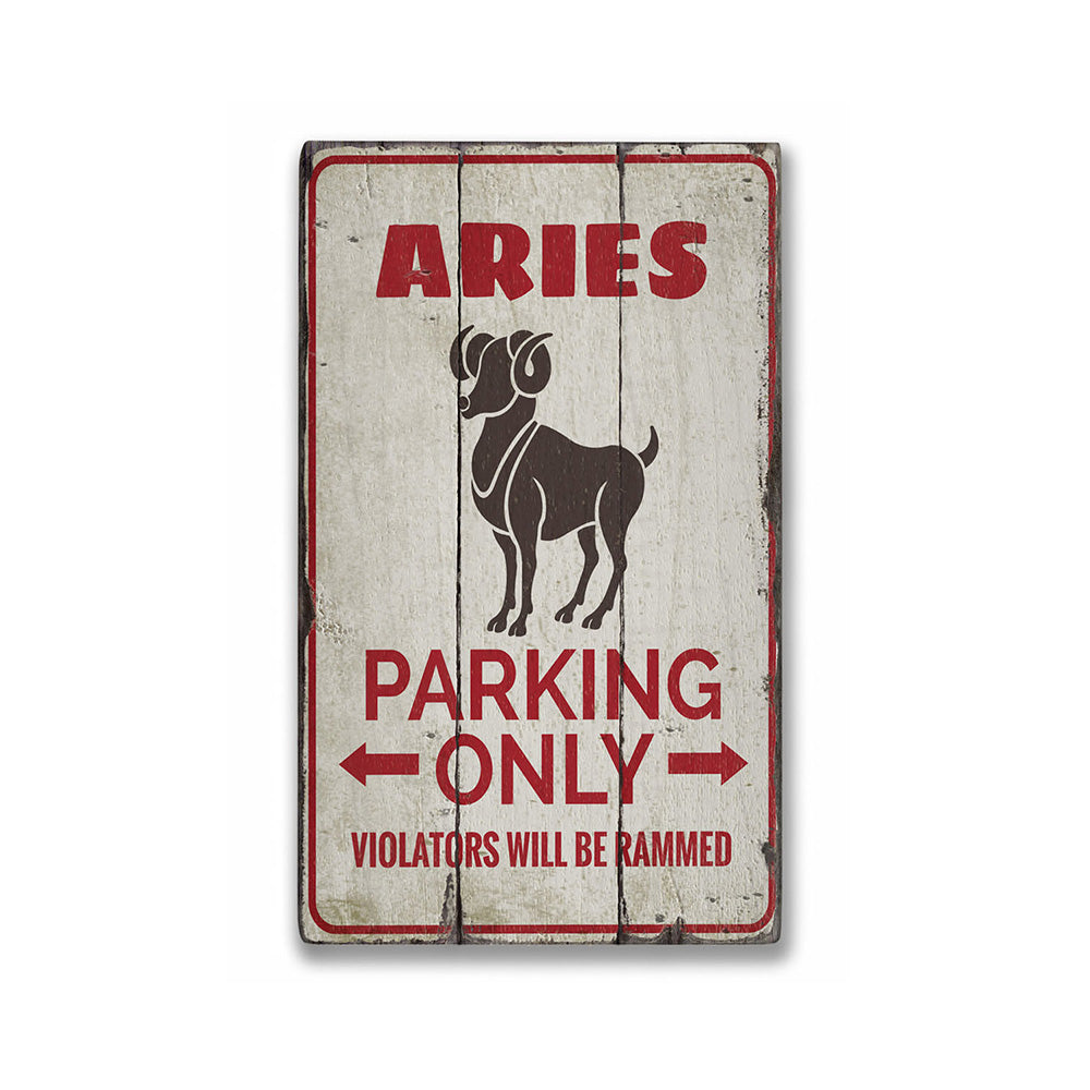 Aries Parking Rustic Wood Sign