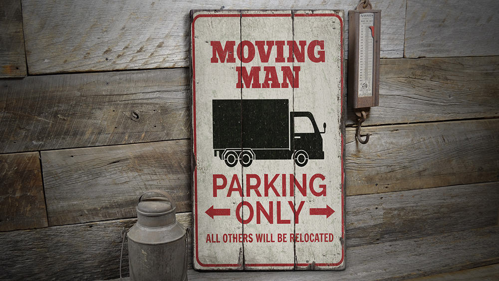 Mover Parking Rustic Wood Sign