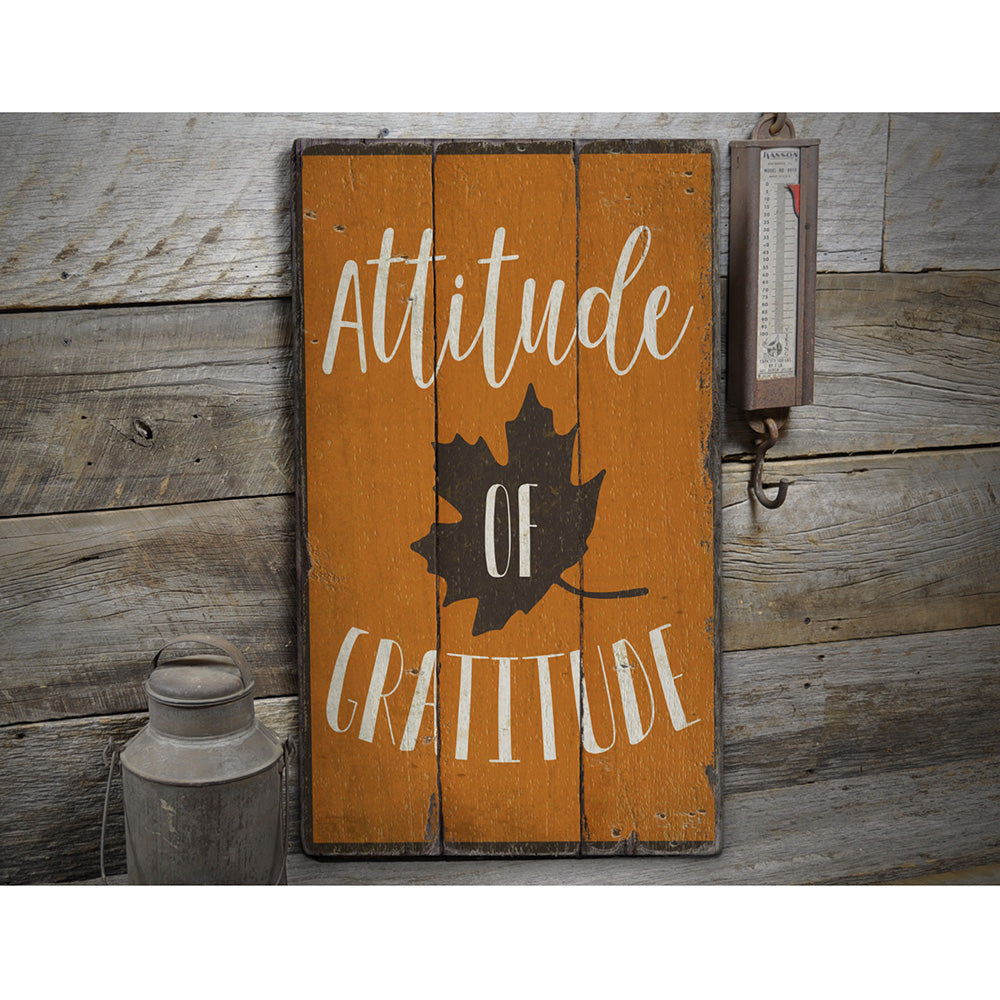 Attitude of Gratitude Rustic Wood Sign