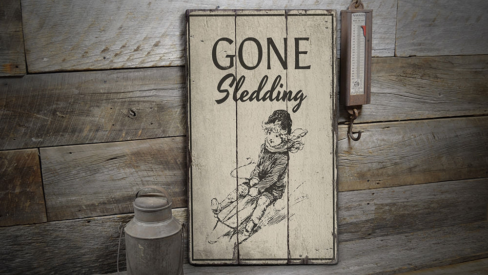 Sledding Rustic Wood Sign